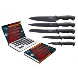Coffret de 5 couteaux + éplucheur / Lame frappée revêtement noir