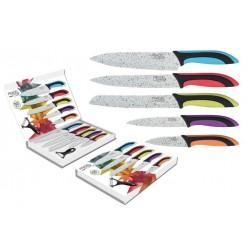 Coffret de 5 couteaux + éplucheur / Lame revêtement façon pierre blanche