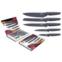Coffret de 5 couteaux + éplucheur / Lame revêtement facon pierre grise