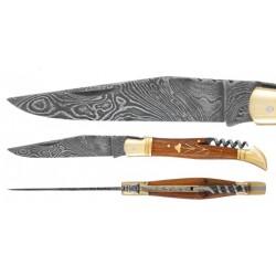 DAMAS - Couteau 12 cm avec tire bouchon - palissandre