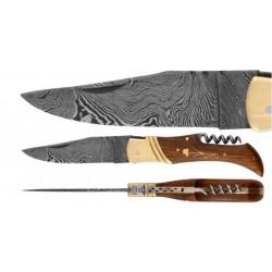 DAMAS - Couteau 11,5 cm avec tire bouchon - palissandre