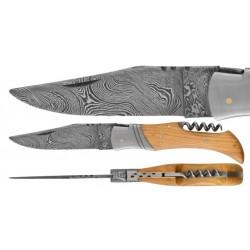 DAMAS - Couteau 11,5 cm avec tire bouchon - teck
