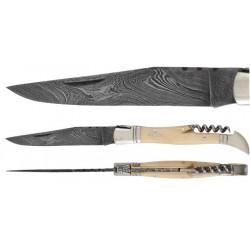 DAMAS - Couteau 12 cm avec tire bouchon - os