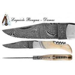 DAMAS - Couteau 11,5 cm avec tire bouchon - os