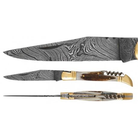 DAMAS - Couteau 12 cm avec tire bouchon - bois de cerf