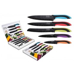 Coffret de 5 couteaux + éplucheur / Lame revêtement façon pierre noire