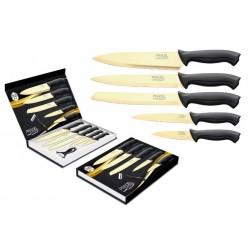 Coffret de 5 couteaux + éplucheur / Lame revêtement titane doré