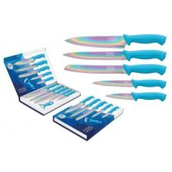 Coffret de 5 couteaux + éplucheur / Lame revêtement titane multi