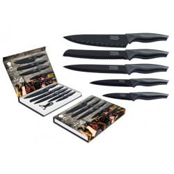Coffret de 5 couteaux + éplucheur / Lame revêtement noir