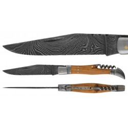 DAMAS - Couteau 12 cm avec tire bouchon - teck